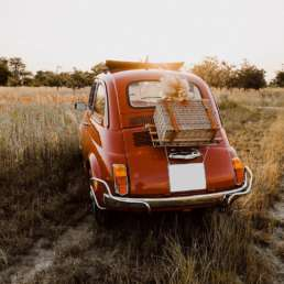 Fiat Nuova 500 L Rückansicht mit Koffer